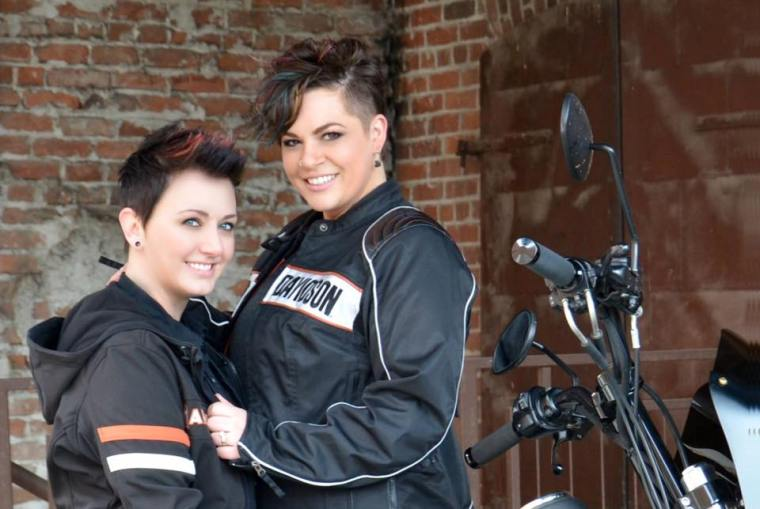 Motorcycle Lesbian Engagement Photos