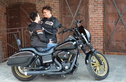 Lesbian Engagement Shoot Urban with a Harley