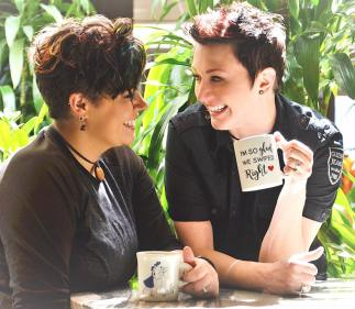 lesbian photo shoot: tinder couple with coffee